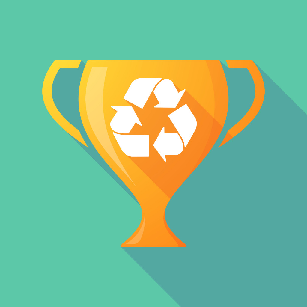 Long shadow trophy icon with a recycle sign
